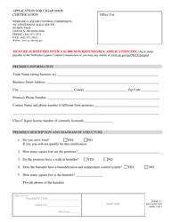 """Form 121 """"Application for Cigar Shop Certification"""" - Nebraska"""