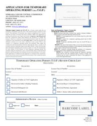 Form 125 Application for Temporary Operating Permit (Aka T.o.p.) - Nebraska