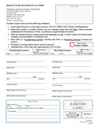 "Form FOR144 ""Request for Transfer of Alcohol"" - Nebraska"