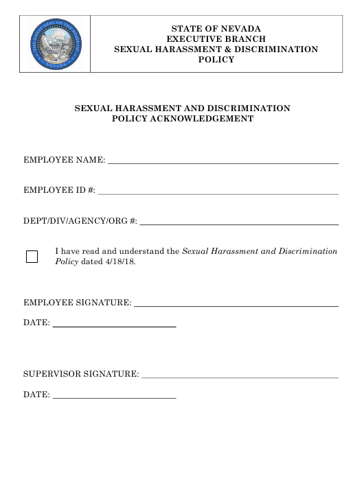"""Sexual Harassment and Discrimination Policy Acknowledgement Form"" - Nevada Download Pdf"