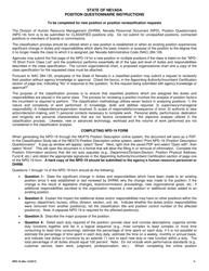 Form NPD-19 Position Questionnaire - Nevada