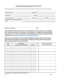 Form ADA-6 Job Development Form for Employee No Longer Able to Perform Essential Functions of Current Position - Nevada
