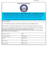 "Form NPD-30 ""Sexual Harassment or Discrimination Complaint Form"" - Nevada"