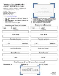 """Form 199 """"Wholesaler Delinquent Credit Reporting Form"""" - Nebraska"""