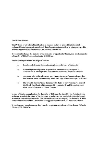 """Livestock Brand Bill of Sale/Transfer of Title"" - Nevada Download Pdf"