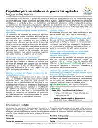 """""""Solicitud Para Un Certificado De Vendedor De Productos Agricolas"""" - Nevada (Spanish)"""