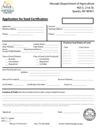 Application for Seed Certification Form - Nevada