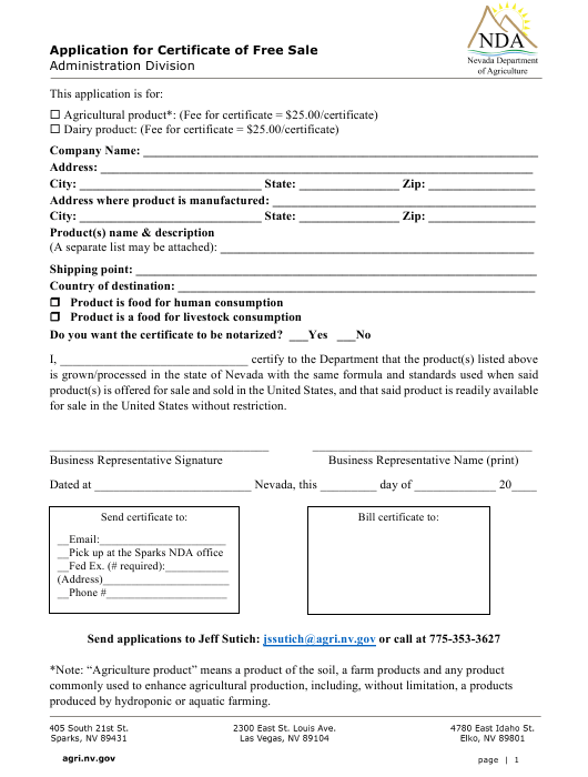 """""""Application for Certificate of Free Sale"""" - Nevada Download Pdf"""