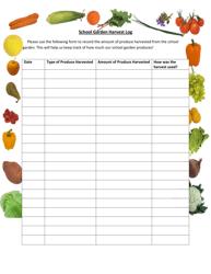 """""""School Garden Harvest Log Template"""""""