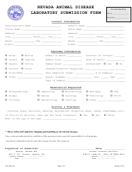 "Form ADL-34 ""Laboratory Submission Form"" - Nevada"
