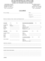 "Form 1-WM ""License Registration Call Sheet"" - Nevada"
