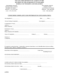 "Form 4-WM ""Consumer Complaint - Non Petroleum Contamination"" - Nevada"
