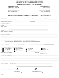 "Form 3-WM ""Consumer Complaint - Petroleum Product Contamination"" - Nevada"