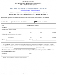 Form 571B Application for an Original or Renewal of an Appraisal Management Company Branch Office - Nevada