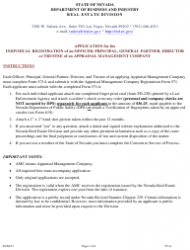 Form 571A Application for the Individual Registration of an Officer, Principal, General Partner, Director or Trustee of an Appraisal Management Company - Nevada