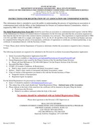 "Form 603 ""Initial Association Registration"" - Nevada"