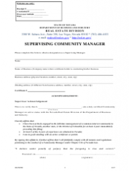 Form 617 Supervising Community Manager Form - Nevada