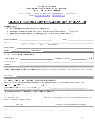 Form 616A Change Form for a Provisional Community Manager - Nevada