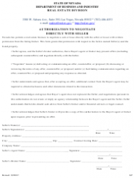 Form 637 Authorization to Negotiate Directly With Seller - Nevada
