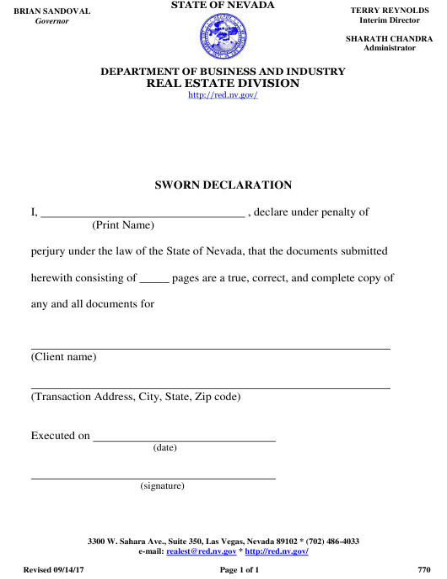 Form 770 Download Fillable PDF, Sworn Declaration Nevada