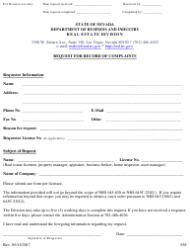 Form 638 Request for Record of Complaints Against Real Estate Licensees, Appraisers, Inspectors, Energy Auditors, Asset Managers, Timeshare Agents, Timeshare Representatives, and Property Managers - Nevada
