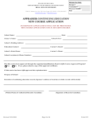 "Form 535 ""Appraiser Continuing Education New Course Application"" - Nevada"