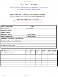 Form 627 Appraisal Pre-licensing Education Course Renewal Application: in-State Providers - Nevada