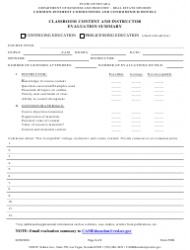 Form 592B Cic Classroom Content and Instructor Evaluation Summary - Nevada
