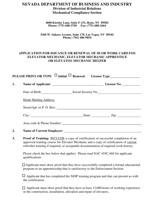 """""""Application for Issuance or Renewal of Id or Work Card for Elevator Mechanic, Elevator Mechanic Apprentice or Elevator Mechanic Helper"""" - Nevada Download Pdf"""