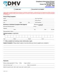 """Form CED20 """"Compliance Enforcement Complaint Form"""" - Nevada"""