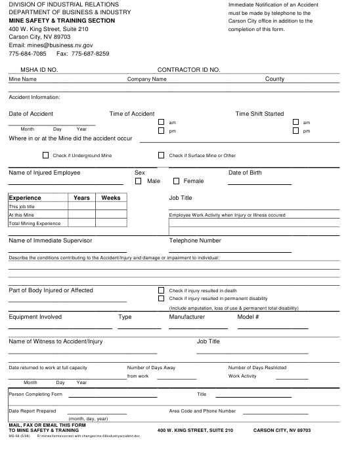 Form MS-08  Printable Pdf