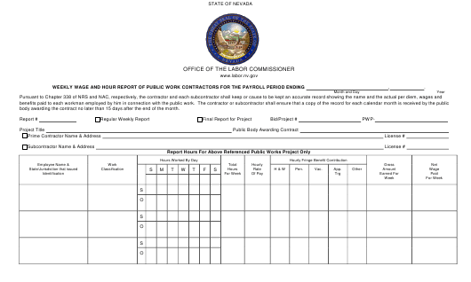 """Certified Payroll Report for Contractors Engaged on Public Works Projects"" - Nevada Download Pdf"