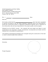 """Certificate of Dam Construction"" - Nevada"
