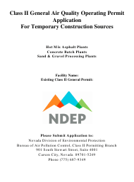 """""""Class Ii General Air Quality Operating Permit Application for Temporary Construction Sources"""" - Nevada"""