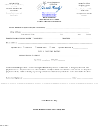"""Credit Card Authorization Form"" - Nevada"