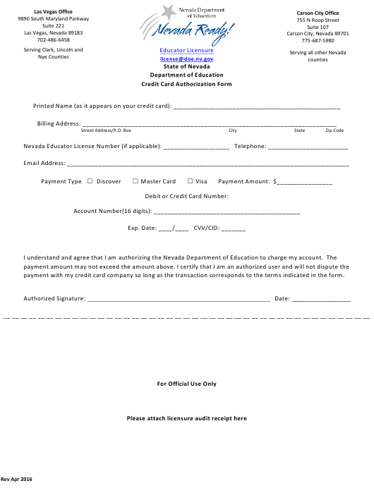 """""""Credit Card Authorization Form"""" - Nevada Download Pdf"""