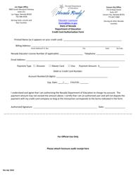 Credit Card Authorization Form - Nevada