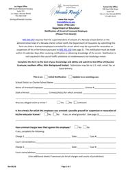 """Notification of Arrest of Licensed Employee"" - Nevada"
