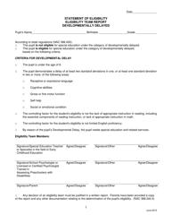 """Statement of Eligibility - Eligibility Team Report - Developmentally Delayed"" - Nevada"