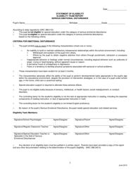 """Statement of Eligibility - Eligibility Team Report - Serious Emotional Disturbance"" - Nevada"