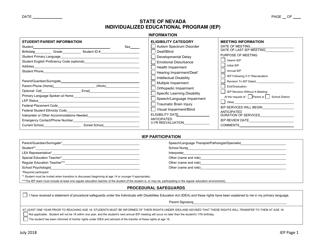 """""""Individualized Educational Program (Iep) Form"""" - Nevada"""