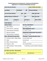 """Application for Vocational Rehabilitation Services - Large Print"" - Nevada"