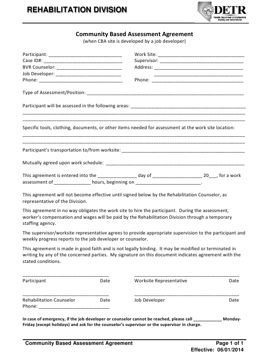 """Community Based Assessment Agreement Form"" - Nevada Download Pdf"