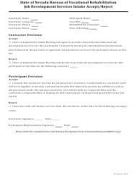 """Job Development Services Intake Accept/Reject Form"" - Nevada"