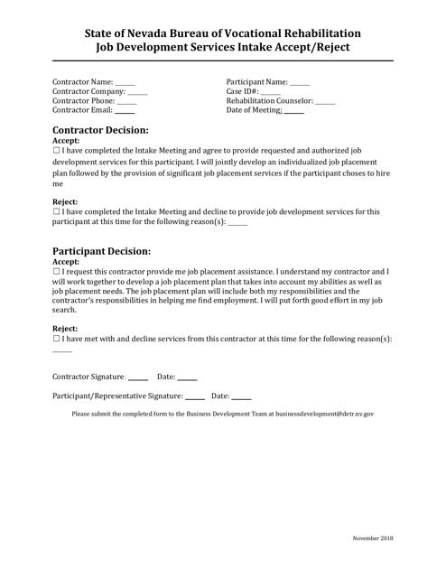 """Job Development Services Intake Accept/Reject Form"" - Nevada Download Pdf"