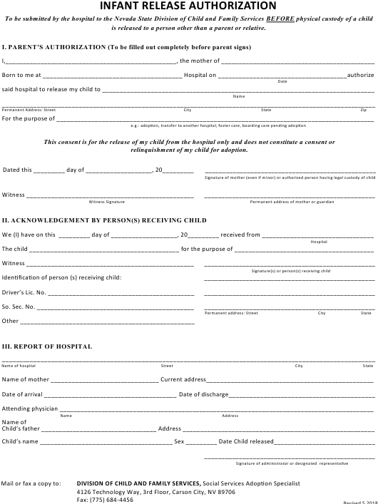"""""""Infant Release Authorization Form"""" - Nevada Download Pdf"""