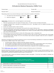 "Form FA-25 ""Orthodontic Medical Necessity (Omn) Form"" - Nevada"