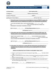 Form FA-50 Nevada Medicaid Hysterectomy Acknowledgement Form - Nevada