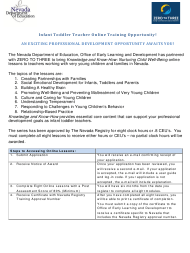 """""""Zero to Three Infant Toddler Online Lessons Application"""" - Nevada"""