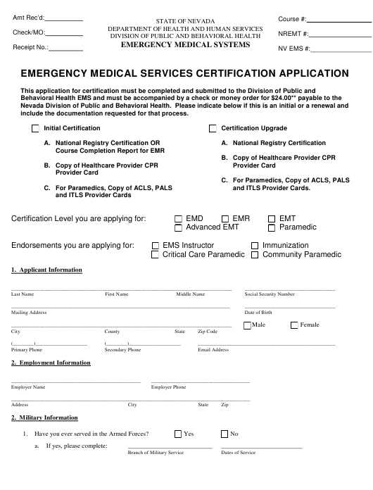Emergency Medical Services Certification Application Form